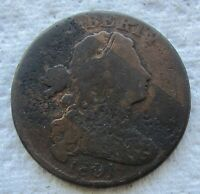 1801 1C BN DRAPED BUST LARGE CENT HIGH GRADE DETAIL FULL BOLD DATE CORRODED