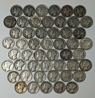 ROLL OF 50 SILVER MERCURY DIMES MIXED DATES 187435R