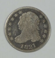 1821 CAPPED BUST DIME GOOD/ AG SILVER 10-CENTS