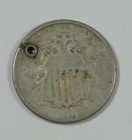 BARGAIN 1866 SHIELD NICKEL WITH RAYS  FINE 5C  HOLED