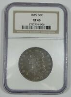 1835 CAPPED BUST/LETTERED EDGE HALF DOLLAR CERTIFIED NGC EXTRA FINE  40 SILVER 50C