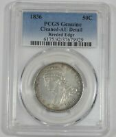 PCGS GENUINE 1836 CAPPED BUST/REEDED EDGE HALF DOLLAR AU DETAILS SILVER 50-CENTS