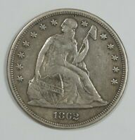 1862 LIBERTY SEATED DOLLAR EXTRA FINE SILVER DOLLAR  REVERSE PLANED OFF