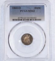 1860-O LIBERTY SEATED HALF DIME CERTIFIED PCGS MINT STATE 62 SILVER 5C