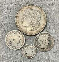 LOT OF 4 OLD U.S. COINS 90   SILVER FROM 1800'S ONE DOLLAR