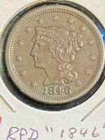 SHARP 1846 1C BRAIDED HAIR LARGE CENT SMALL DATE N-4 RPD DOUBLED DATE IN AU