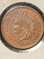 SHARP 1864 BRONZE NO L INDIAN HEAD CENT IN CHOICE TO GEM BRILLIANT UNCIRCULATED