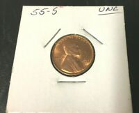 1955-S LINCOLN WHEAT CENT SMALL CENT UNCIRCULATED UNC SHARP WHEAT LEAFS INV10