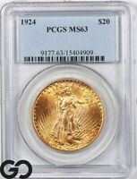 1924 MS63 DOUBLE EAGLE $20 GOLD ST GAUDENS PCGS MINT STATE 6