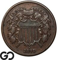 1870 TWO CENT PIECE CHOICE AU COLLECTOR TYPE COIN