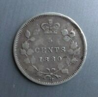 5 CENTS CANADA 1880 VG F