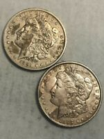 TWO LIGHTLY CLEANED MORGAN SILVER DOLLARS, 1891-O EXTRA FINE  & 1898 AU.