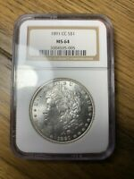 1891-CC SILVER MORGAN DOLLAR NGC MINT STATE 64 S$1 CARSON CITY BEAUTIFULLY STRUCK COIN