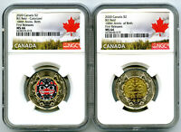 2020 $2 CANADA NGC MS66 TOONIE BILL REID TWO DOLLAR MATCHED
