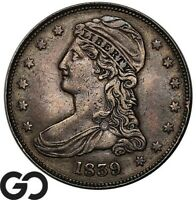 1839 CAPPED BUST HALF DOLLAR REEDED EDGE SCARCE SILVER 50C