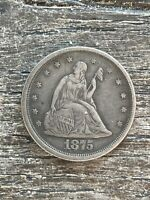1875 S SEATED LIBERTY U.S. COIN 20 CENT PIECE STRONG DATE NI