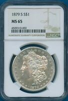 1879 S NGC MINT STATE 65 MORGAN SILVER DOLLAR $1 US MINT 1879-S NGC MINT STATE 65 SUPER PQ COIN
