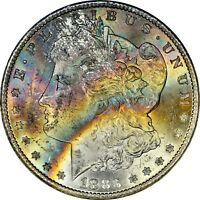 1883-CC MORGAN $1 PCGS MINT STATE 64 CAC RAINBOW TONED - COINVESTMENTPROS