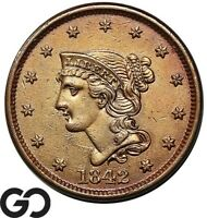 1842 LARGE CENT BRAIDED HAIR TOUGHER DATE COLLECTOR COPPER