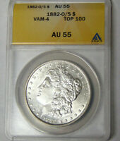 ANACS AU55 1882-O/S MORGAN SILVER DOLLAR NEW ORLEANS O OVER S VARIETY 4788920