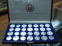 CANADA 1976  STERLING SILVER OLYMPIC COINS  SET   28PCS    WITH  BROWN BOX