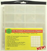 30 PAGES  THREE PACKS  OF UNIGRADE 20 POCKET COIN PAGES FOR 2X2 PAPER FLIP