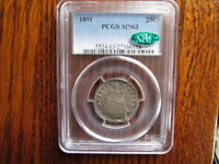 50C 1891 SEATED QUARTER PCGS MS 63 CAC PRETTY PERIPHERAL TONING!