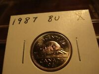 1987   FIVE CENT NICKEL CANADA   BRILLIANT UNCIRCULATED   NICE!!
