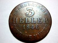 GERMAN STATES HESSE CASSEL 3 HELLER 1846 IN VF CONDITION..