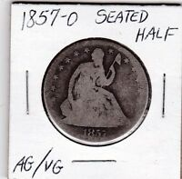 1857 O SEATED HALF DOLLAR AG/VG