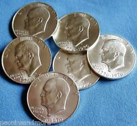 1976 SILVER EISENHOWER IKE DOLLARS LOT 6 COINS BU 40 SILVER $6.00 FACE VALUE