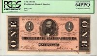 T 71 $1 1864 CONFEDERATE STATES OF AMERICA PCGS 64 PPQ  EX BOYSTOWN COLLECTION