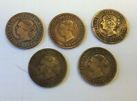 LOT OF 5 CANADIAN ONE CENT COINS YEARS 1859 1876 1886 1893 AND 1899  KB51