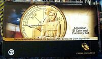 2014 D ENHANCED SACAGAWEA NATIVE AMERICAN $1 COIN AND CURRENCY SET