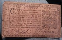 1774 MARYLAND 1/6 DOLLAR COLONIAL CURRENCY SIGNED