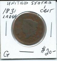 USA 1831 1 CENT LARGE DATE
