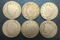 1890'S LIBERTY NICKELS 1890, 1891, 1892, 1893, 1895, 1897 - 6 COINS LOT 01