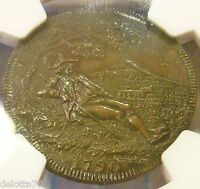 1790 WORCESTERSHIRE DUDLEY 1/2 PENNY NGC GRADED ORIGINAL IN SUPERB MS 65 BN
