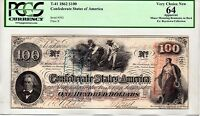T 41 $100 1862 CONFEDERATE STATES OF AMERICA PCGS CHOICE NEW 64 PF 2