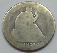 SILVER U.S. COIN   1876 S SEATED LIBERTY HALF DOLLAR   90