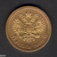 RUSSIA. 1900 GOLD 5 ROUBLES..  PART LUSTRE..  GVF