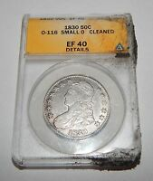 1830 CAPPED BUST SILVER HALF DOLLAR   SMALL 0   ANACS EF 40