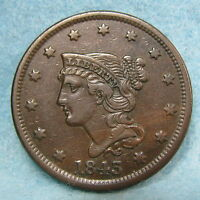 1843 PETITE HEAD SMALL LETTERS BRAIDED HAIR LARGE CENT VF XF   US COIN 9333