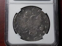 1749 RUSSIA ROUBLE SILVER COIN NGC VF