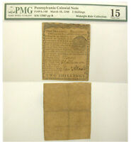 1769 PENNSYLVANIA COLONIAL CURRENCY. PMG CHOICE FINE 15