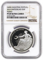 2016 SWITZERLAND 50F SILVER SHOOTING FESTIVAL THALER TICINO NGC PF69 UC SKU39570