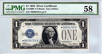FR.1600 $1 1928 STAR SILVER CERTIFICATE PMG CHOICE ABOUT UNCIRCULATED 58