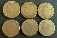 1890'S LIBERTY NICKELS 1890, 1891, 1892, 1893, 1895, 1897 - 6 COINS LOT 07