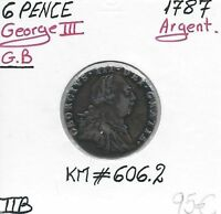 UNITED KINGDOM   SIX PENCE 1787 SILVER COIN // QUALITY: FINE