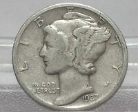 :   1937 MERCURY SILVER DIME U.S. COIN  FREE BUBBLE PADDED SHIP W/ TRACKING